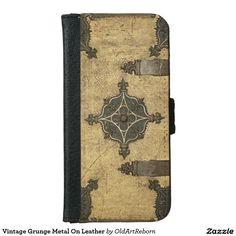 Vintage Grunge Metal On Leather iPhone 6 Wallet Case