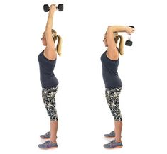 17 Free Weight Exercises for Toned Arms - Overhead_Triceps_Press_Grouped - Arm Workouts At Home, At Home Workout Plan, Easy Workouts, Armpit Workout, Arm Flab, Armpit Fat, Fitness Workout For Women, Toned Arms, Fat To Fit