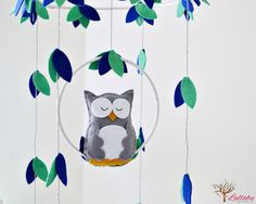 Owl mobile  woodland  Nursery baby mobile  gray by LullabyMobiles