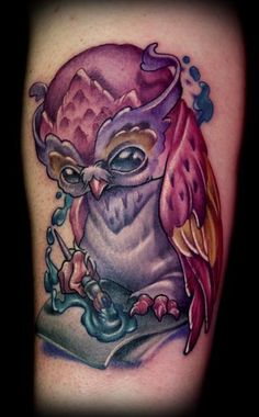 owl tattoo, totally amazing and beautiful. love the colors. i would replace the paint and brush with a quill and ink