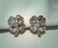 Vintage Gold Weiss Shamrock Four Leaf Clover Good Luck Rhinestone Clip Earrings #Weiss