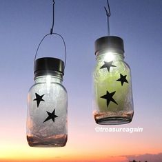 Star Light Jars Outdoor Home Decor, Holiday Mason Jar Solar Lights, Yellow, White, Hanging Outdoor Lanterns on Etsy, $41.50