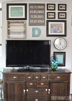 wall decor around tv House of Turquoise Decor Around Tv, Gallery Wall Layout, Gallery Walls, Tv Wall Decor, Wall Tv, Diy Tv Stand, House Of Turquoise, Living Room Tv, New Wall