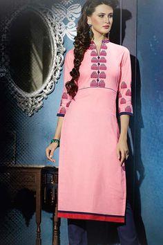 Pink Stitched Embroidery Designer kurti