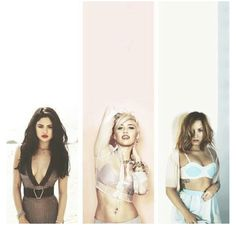 Selena Gomez, Miley Cyrus, and Demi Lovato, the three Disney girls I love to watch and listen too.So grown so beautiful.