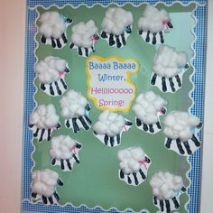I found this sheep idea on pinterest and put it on my classroom door today. I thought the caption my parapro came up with was cute! ;-) -HW