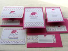 Indian Save the Date and Invitation Set - Elephant Decorated Jaipur Wedding Stationery Set. $10.00, via Etsy.