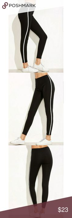 🎀🛍Black Striped Side Leggings 🎀🛍Black Striped Side Leggings  🎀Measurements: Waist 25.2 - 40.2 in Hip size 29.9in Thigh 15.7 - 27.6 in Length 35.8in Not Available Pants Leggings