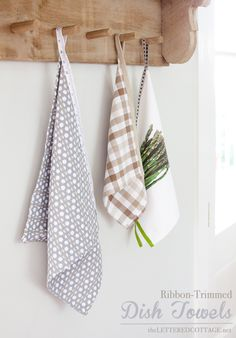 Create DIY Hanging Dishtowels with ribbon | The Lettered Cottage / very pretty!