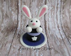 Fondant Cake Topper Rabbit in Magic Hat by lovesugarkisses on Etsy, $25.00