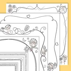 Whimsical Scrapbooking Page Borders 12x12 Design Cardmaking Square Card Frame Whimsy Birds Flowers Ladybug Owl Beetle Doodles Clipart 10515 #Whimsical #ScrapbookingPage #PageBorders