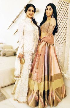 Sridevi and Khushi Kapoor at a Diwali bash. #Bollywood #Fashion #Style #Beauty #Hot #Ethnic