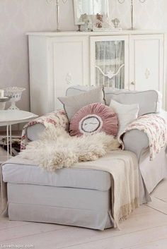 Comfy Chair With Footrest Home White Gray Decorate Comfort Furniture Footstool Oversized Reading