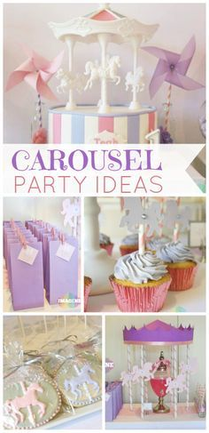 What a beautiful girl birthday party featuring lovely carousels!  See more party ideas at CatchMyParty.com!