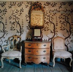 Swedish room--the painted walls served as the basis for Rollitt's similar wall designs.