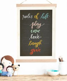 Perfect for the playroom or kids' rooms! 'Rules of Life' Print & Frame Kit by Children Inspire Design #zulilyfinds