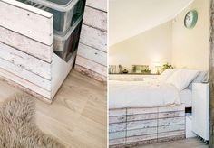 aménagement petit espace réussi - lit avec rangements et une étagère murale pratique