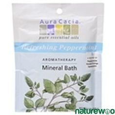 Aura Cacia Refreshing Peppermint Aromatherapy Mineral Bath Salt, Ounce Packet -- 6 per case. Peppermint Leaves, Peppermint Oil, Mineral Bath, Home Spa Treatments, Sodium Bicarbonate, Orange Oil, Pure Essential Oils, Harvest, The Cure