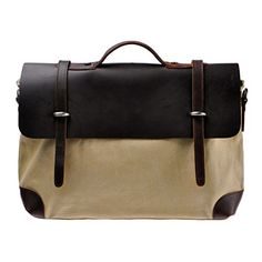 "Zlyc Men's Genuine Leather and Canvas Business Briefcase Handbag 15.6"" Laptop Bag Messenger Bag Color Beige ZLYC http://www.amazon.com/dp/B00LILIIDQ/ref=cm_sw_r_pi_dp_3L5Xtb1B7GDWC5NH"
