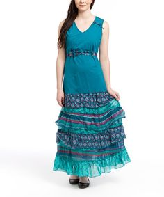 Another great find on #zulily! Teal Stripe Tiered Maxi Dress - Women by Coline USA #zulilyfinds
