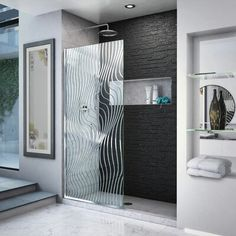 DreamLine Platinum Linea Surf 34 in. W x 72 in. H Single Panel Frameless Shower Screen, Open-Entry Design (Polished Stainless Steel Hardware), Clear Framed Shower Door, Frameless Shower Doors, Dreamline Shower Doors, Bathtub Doors, Bathroom Doors, Home Depot, Walk In Shower Designs, Shower Screen, Shower Remodel
