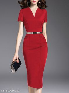 V-Neck Slit Pocket Plain Bodycon Dress – wanokitty dresses for fall dresses clothes dress to beautiful dresses dress fitted dress fashion accessories dress style dresses dress outfit fa Dresses Elegant, Beautiful Dresses, Fall Dresses, Belted Dress, The Dress, Plain Dress, Office Dresses, Dress Silhouette, Dress Brands