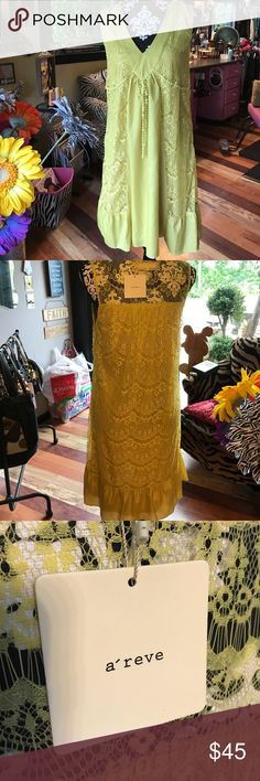 """NWT a'reve dress Mustard colored with lace panels v-neck a'reve dress --NWT-Boutique Bought!! Goes on over the head--NO zipper!  36"""" shoulder to hemline and 17"""" armpit to armpit a'reve Dresses Midi"""