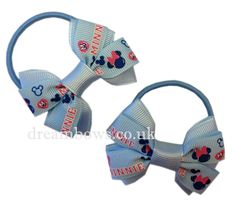 Baby blue Minnie Mouse hair bobbles, school hair bobbles from www.dreambows.co.uk #minniemouse #schoolaccessories #prettybows #schoolbows #disneybows