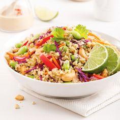 Salade de quinoa à la thaïe - Les recettes de Caty Fried Rice, Cobb Salad, Fries, Salads, Clean Eating, Vegan, Cooking, Comme, Ethnic Recipes