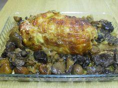 Paprika En La Cocina: Pollo relleno acompañado de níscalos, castañas y ciruelas pasas// Recetas Solidarias Para Navidad