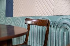 design by Aimee Munro Bauhaus Architecture, Art And Architecture, Mosaic Wallpaper, Mosaic Tiles, Mosaics, Geometric Form, Three Dimensional, Bold Colors, Coffee Shop