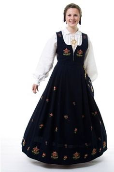"Black ""Jordet bunad"" with embroidered waist and skirt from Gudbrandsdalen, Oppland, Norway (It is also made in blue, but I haven't found a picture) Norway Culture, Folk Costume, Costumes, Silver Accessories, All Things, Most Beautiful, How To Make, How To Wear, Skirts"