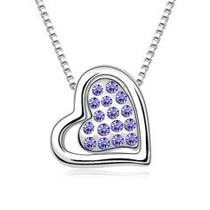 LOVER Valentine's Day Gifts Rhinestones Women Favourite Hearts Sparking Pendant Necklace imitation Gemstones may have been treated to improve their appearance or durability and may require special care. The natural properties and composition of mined gemstones define the unique beauty of each piece. The image may show slight differences to the actual stone in color and texture. Imported Intricate high polish creates glamorous reflections and adds a luxurious look to this necklace