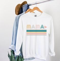 Sweatshirt Outfit, Crew Neck Sweatshirt, Retro Sweatshirts, Going Home Outfit, Create Shirts, Mama Shirt, Gifts For New Moms, Christmas Shirts, Shirt Shop