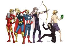 Hetalia/Avengers crossover... oh my gooodness this is perfect. This is just, I cant. Britain, France, America, Russia, China?, and Canada