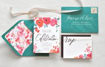 """""""Cheerful"""" watercolor wedding invitation suite, price available upon request, Julie Song Ink Unique Wedding Invitations, Wedding Invitation Wording, Wedding Stationary, Invitation Design, Invitation Cards, Party Invitations, Floral Invitation, Wedding Paper, Wedding Cards"""