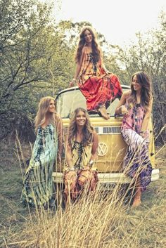 Instead of fancy bridesmaid dresses, hit up summer festival booths for flowy, earthy, hippie dresses for the bridesmaids in styles that they will wear again.