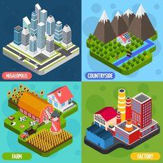 Locations 4 Isometric Icons Square