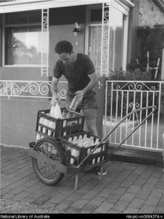 A milkman making his deliveries. Photo shared from National Library of Australia. South Australia, Melbourne Australia, Old Photos, Vintage Photos, Australian Icons, Sydney City, Melbourne Victoria, Historical Pictures, Before Us