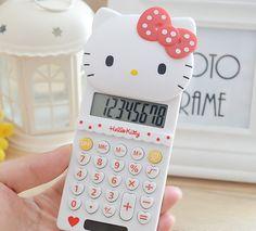 새로운 귀여운 스트레치 헬로 키티 기본 전자 계산기 8 Digitals 화이트 계산 선물