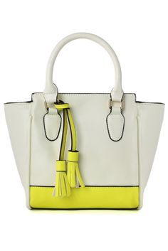 Color Block Tote Bag with Tassel