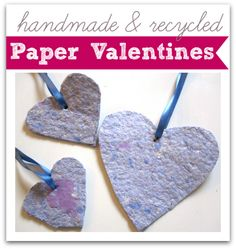 Recycled paper hearts for earth day or Valentine's Day.