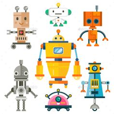 Isolated Robot Set Flat Vector illustration