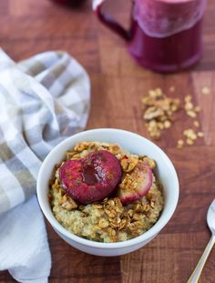 Plum Crunch Steel Cut Oats. BEST steel cut oats with roasted plums and crunch granola.