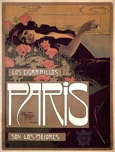 songesoleil:  Los Cigarrillos, Paris. Lithograph in colours.  Art by Aleardo Villa.(1865-1906).