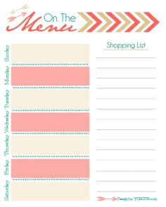 Super cute and FREE menu planner printable by The Cutest Blog on the Block!!