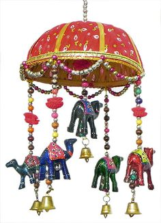 Decorative Door Hanging with Cute Animals and Beads (Wood, Cloth and Beads) Hanging Beads, Hanging Garland, Diwali Painting, Diwali Craft, Indian Elephant, Beaded Crafts, Art N Craft, Diwali Decorations, Asian Decor