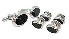 Designer Black Enamel Cufflink Stud Set by Men's Collections (cs13)  http://electmejewellery.com/jewelry/mens-jewelry/mens-shirt-studs/designer-black-enamel-cufflink-stud-set-by-men39s-collections-cs13-com/