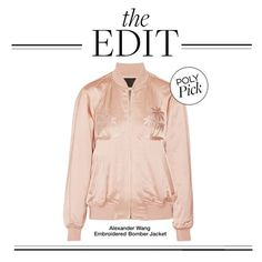 """The Edit: Alexander Wang Embroidered Bomber Jacket"" by polyvore-editorial ❤ liked on Polyvore featuring Alexander Wang and theedit"
