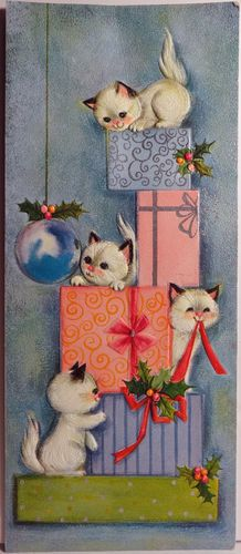 Frisky Kitty Cats Play w The Presents Vintage Christmas
